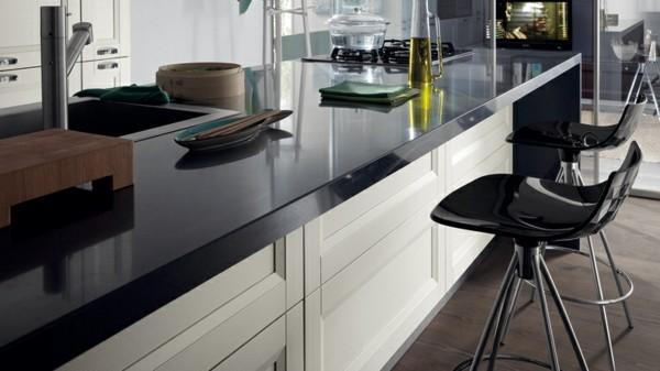 Cocinas con isla multifuncional para todos los estilos for Encimera negra brillo