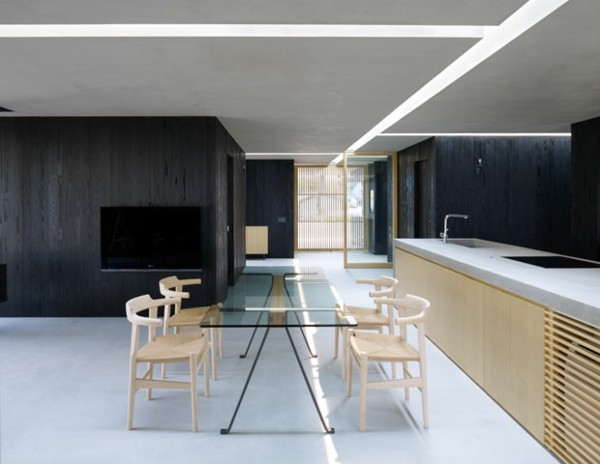 isla lavadero minimalismo cocina mesa cristal