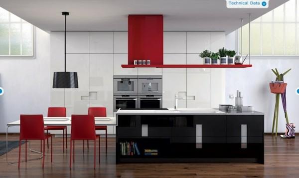 Cocinas con isla multifuncional para todos los estilos for Sillas de cocina rojas