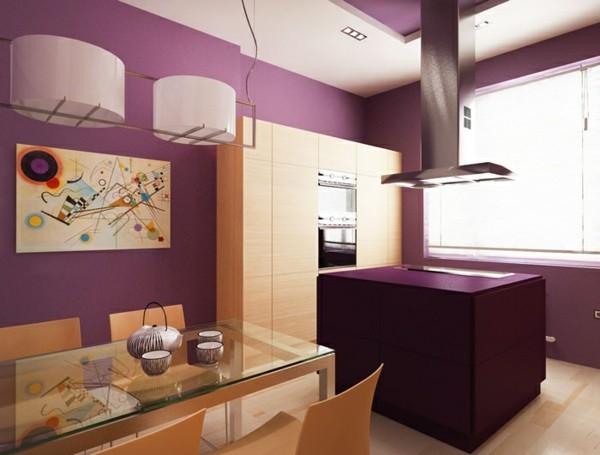 Cocinas con isla multifuncional para todos los estilos - Cocina color lila ...