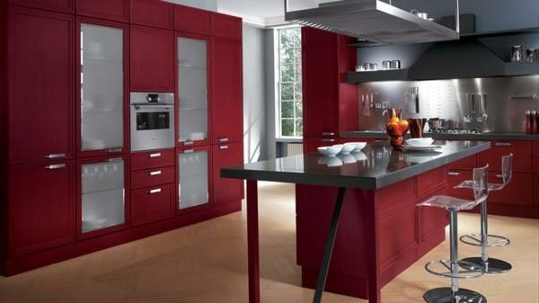 isla cocina roja encimera negra