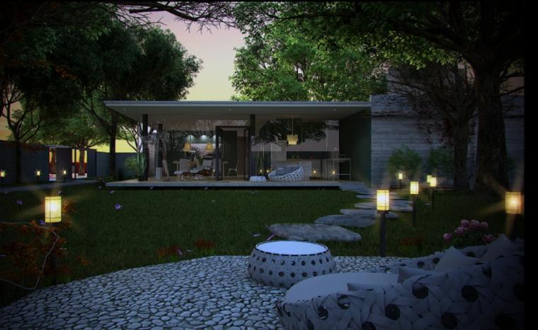 jardin atardecer decorado rocas guijarros