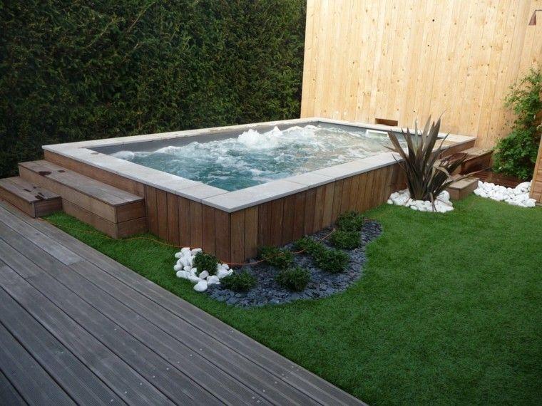 jardin burbujas masaje rocas plantas