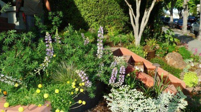jardin flores escalera agua rocas