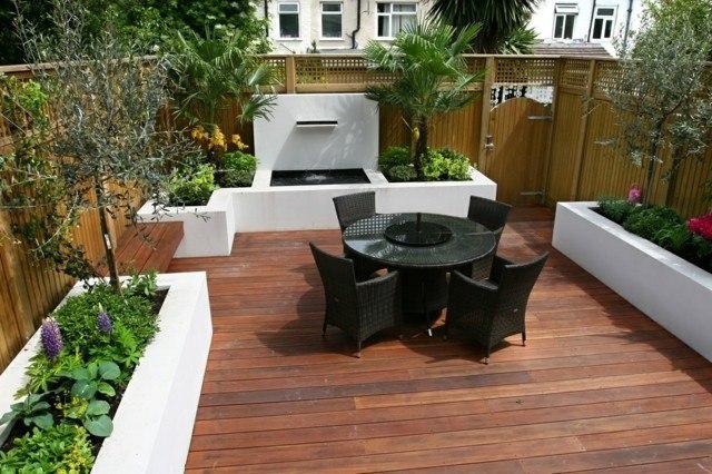 jardin fuente suelo madera flores moderno mesa