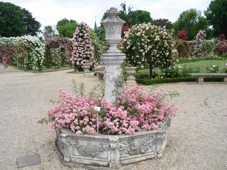 jardin ideas pergolas rosas trepadoras blanco rosa fuente