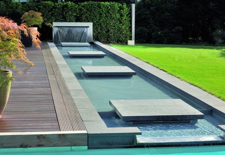 jardin moderno agua caida ideas cesped idea