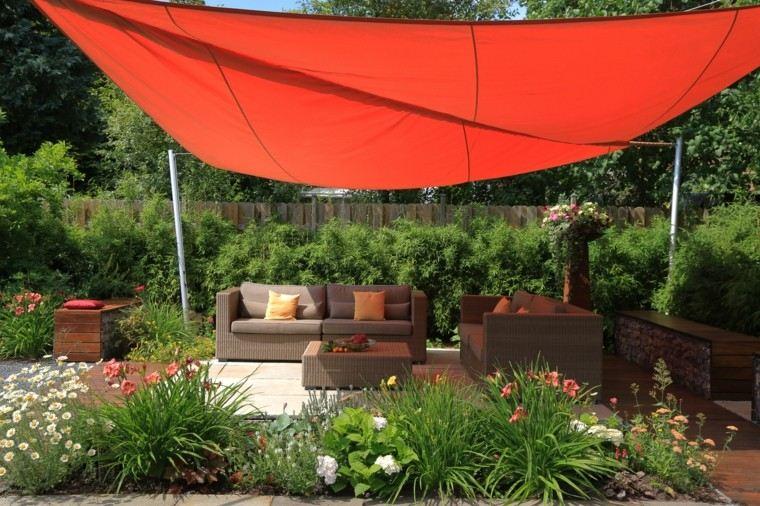 jardin moderno pergola tela roja plantas idea