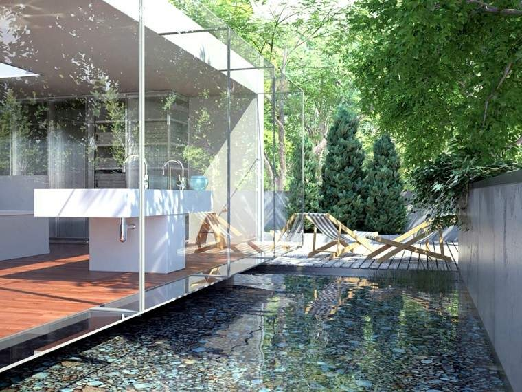 jardin moderno tumbonas paisaje acuatico ideas originales arboles