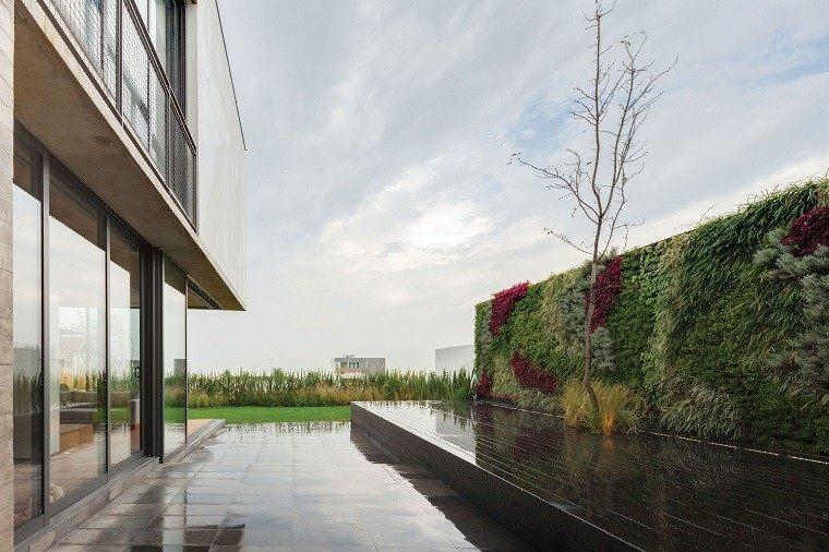 jardin moderno mojado plataforma