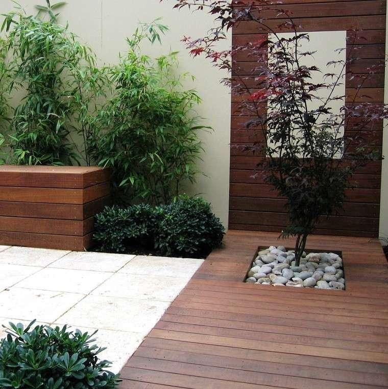 jardin patio terraza plantas madera