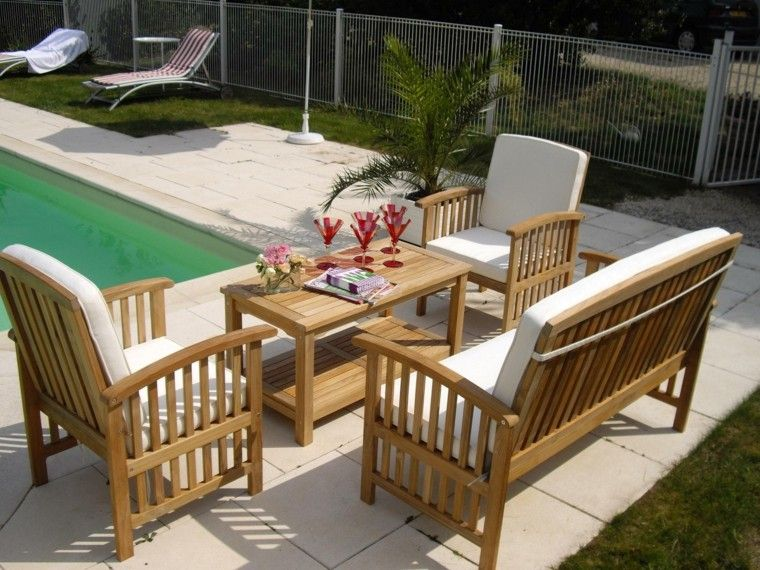 jardin piscina muebles teca ideas modernas ideas
