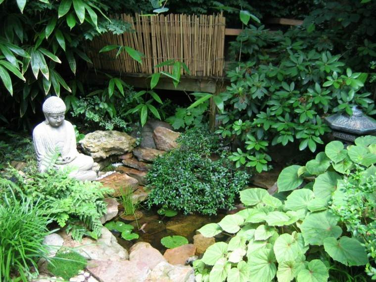 jardin plantas buda estatua zen