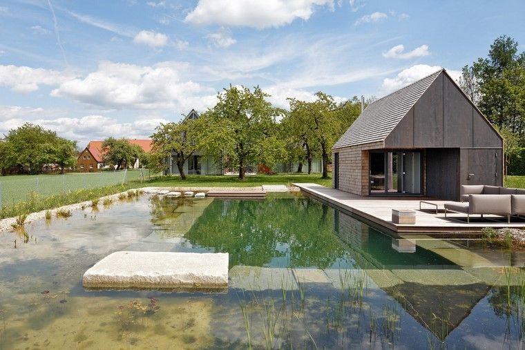 jardin y decoracion casa rocas muebles estanque