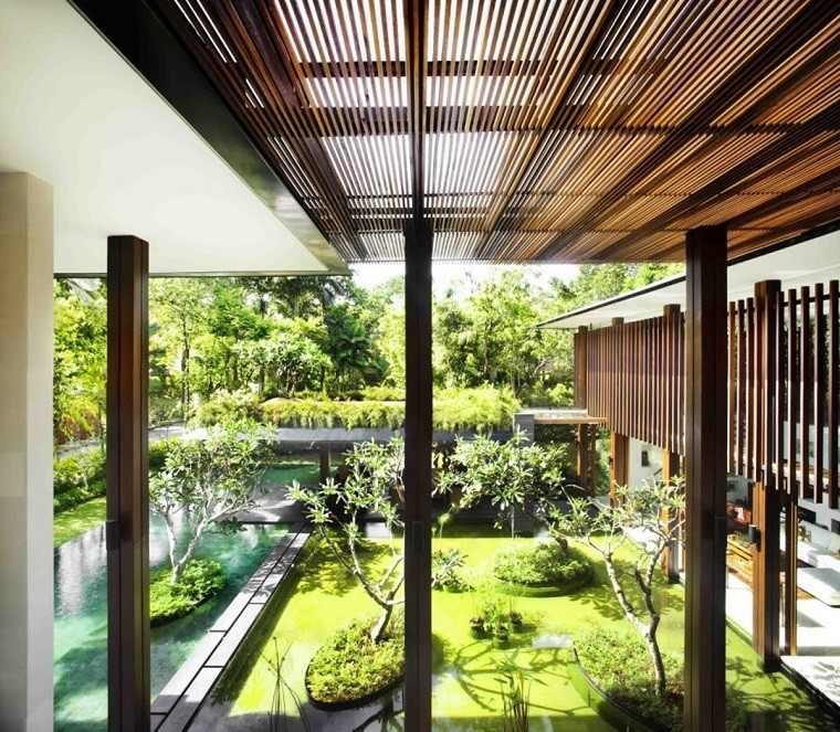 jardin y decoracion moderno estanque cesped islas
