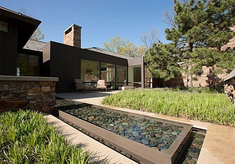 jardin y decoracion rocas agua moderno patio