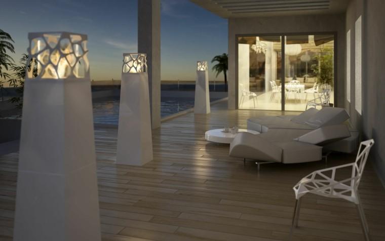 jardin zen antorchas ideas modernas blancas estilo