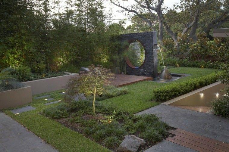 jardin zen estilo moderno fuente