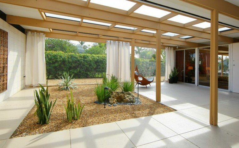 jardin zen patio cubierto pergolas