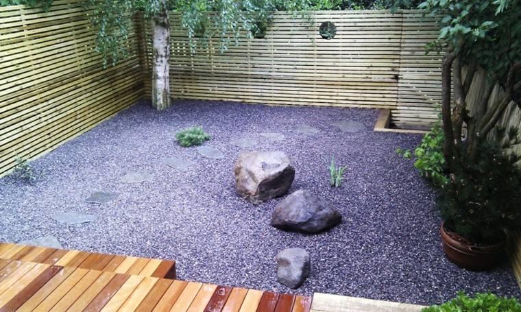 jardin zen pequeño guijarros grava