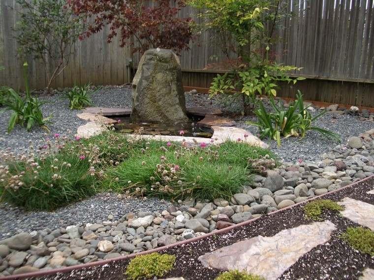 jardin zen roca fuente agua