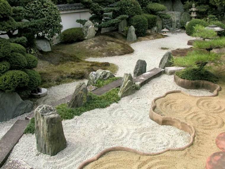 jardin zen tipos arena piedras fuente bonito