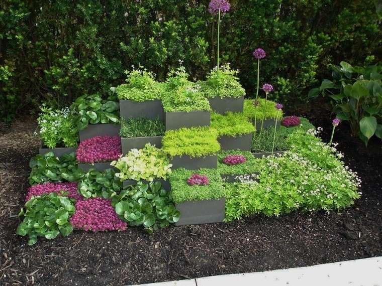jardinera nivelada cubiculos plantas flores