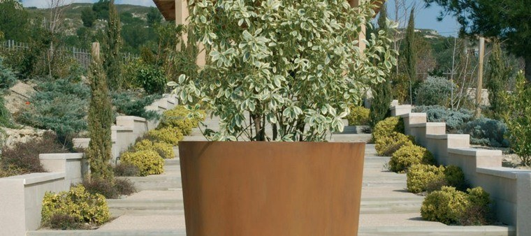jardineras planta acero corten exterior