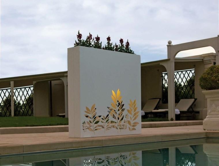 jardineras planta acero piscina luminarias