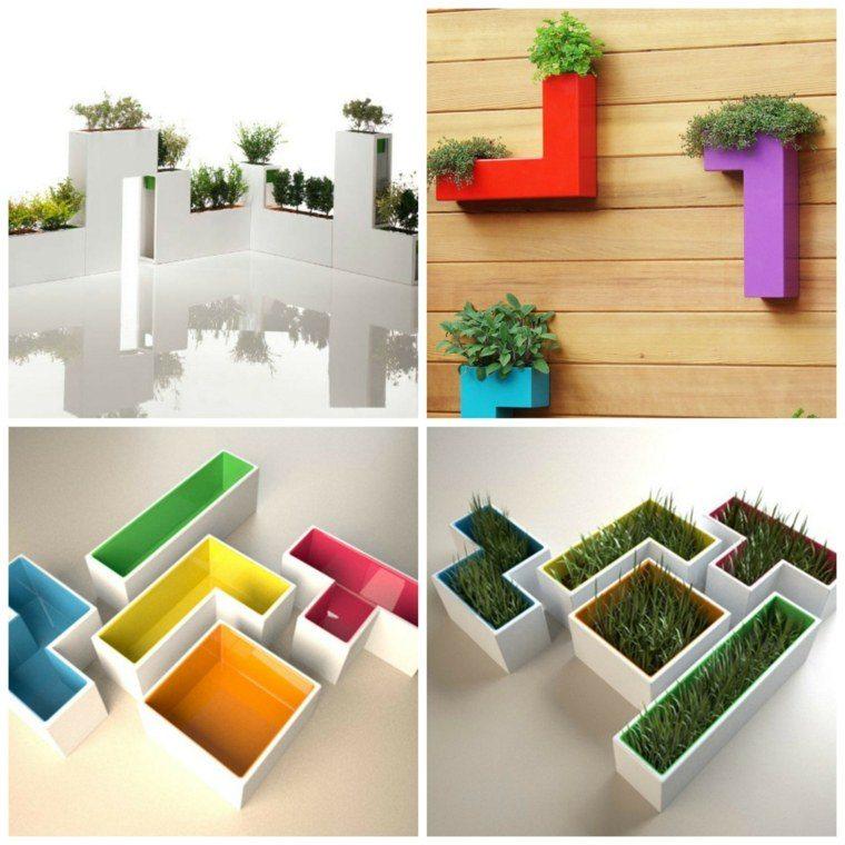jardineras tetris colores madera pared