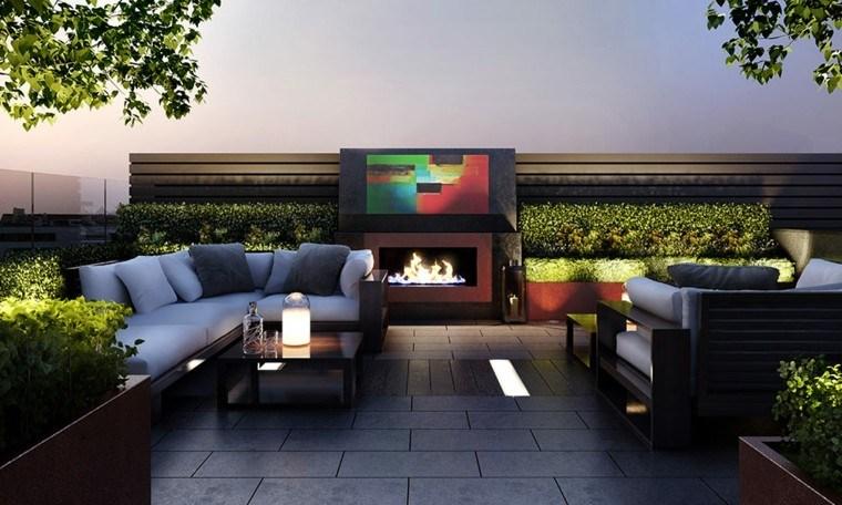 jardines diseno modernos Patricia Fox muebles comodos chimenea