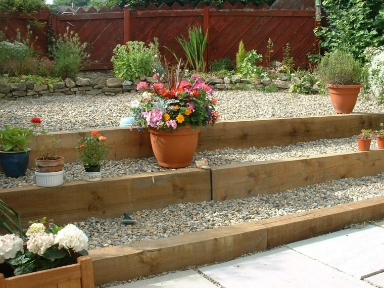 jardines piedras guijarros maceta escalones