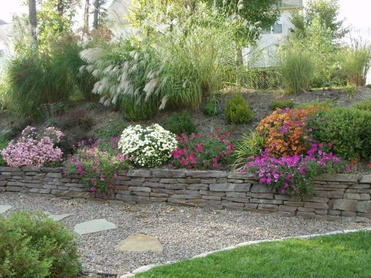 jardines plantas flores colores grava
