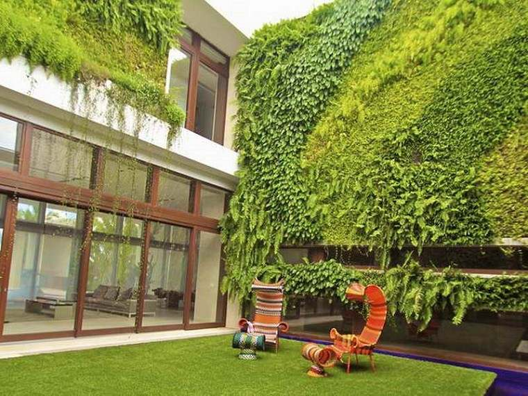 jardines verticales fachada patio