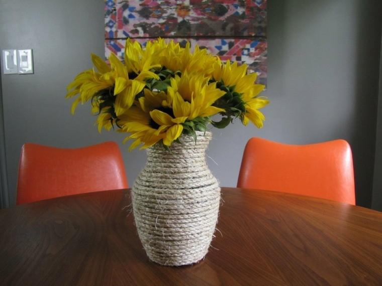 jarron bonito flores amarillas cuerda