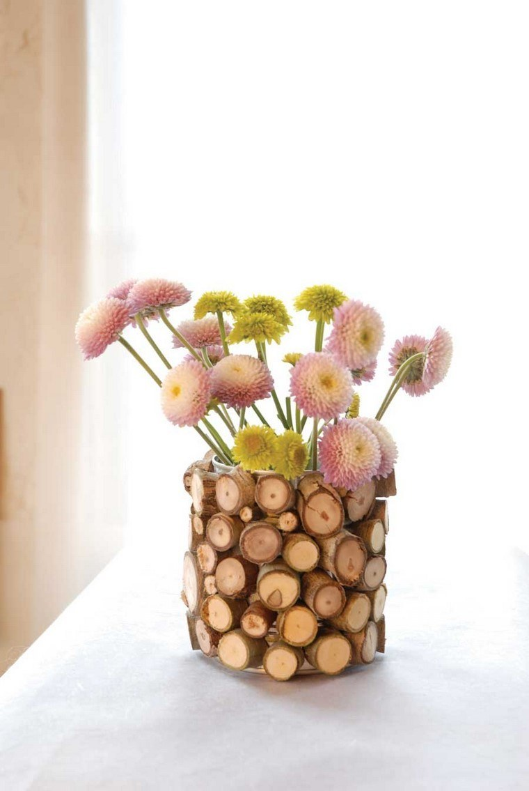 jarron pequeno madera estilo rustico manualidad idea