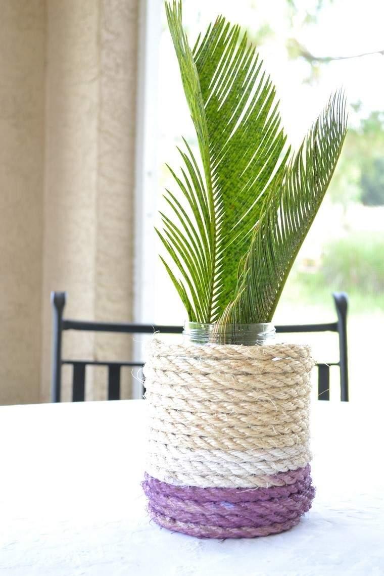 jarron revestido lana ideas manualidad casa planta