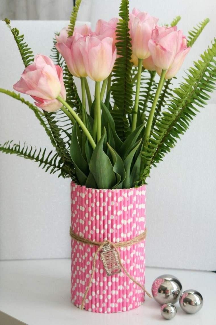 jarron rosa bonito manialidas ideas originales pajillas