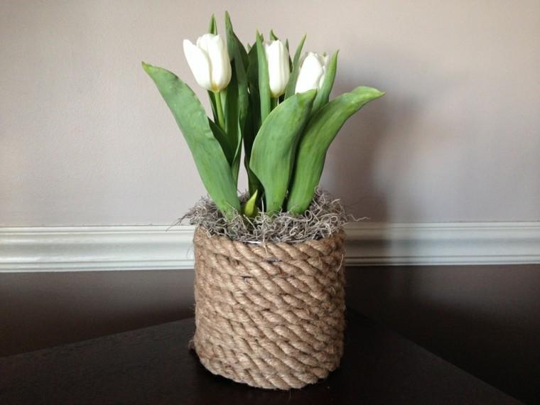 jarron tulipanes blancos maria cuerda
