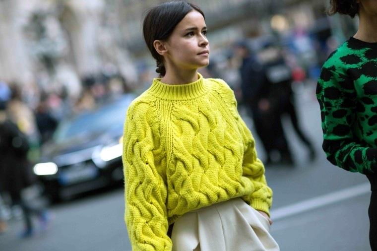 jersey amarillo ancho falda beige