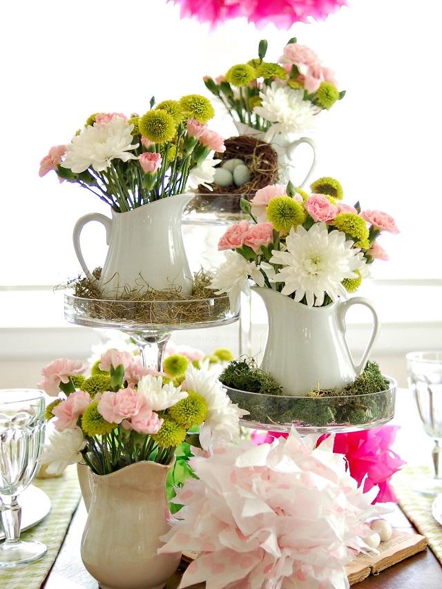 la primavera decoracion mesa jarras cafe ramos blanco