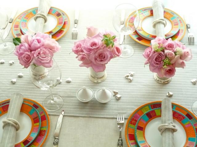 la primavera mesa decoracion rosas frescas bonita ideas