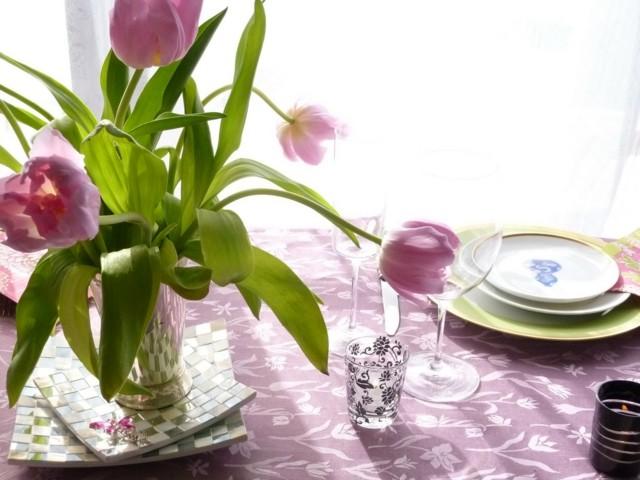 la primavera tulipanes juego mantel idea original