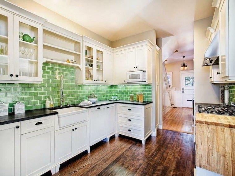 papel ladrillos verdes cocina vintage