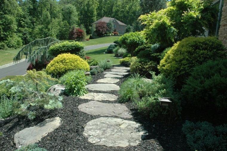 lajas jardin casa lampara plantas mantillo