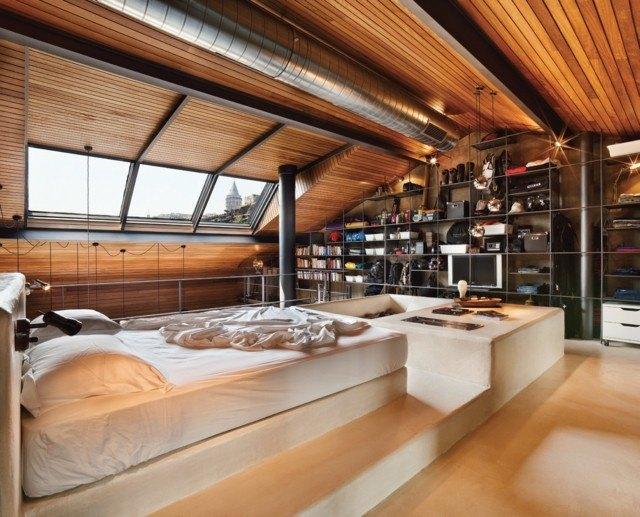 laminas madera techo dormitorio diseño increible