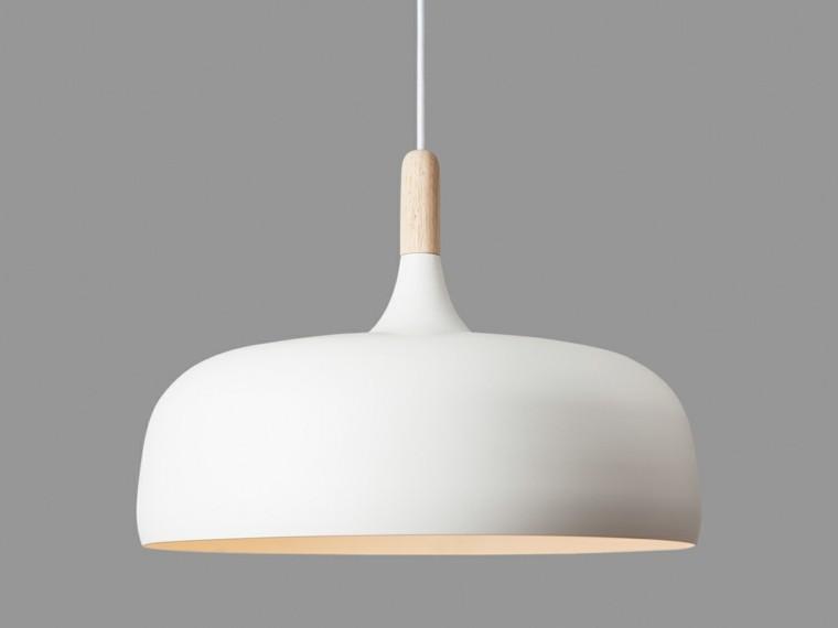 lampara colgante blanca madera moderna - Lamparas De Techo Colgantes