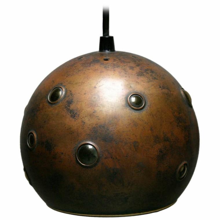 lampara colgante bola casco oxidado