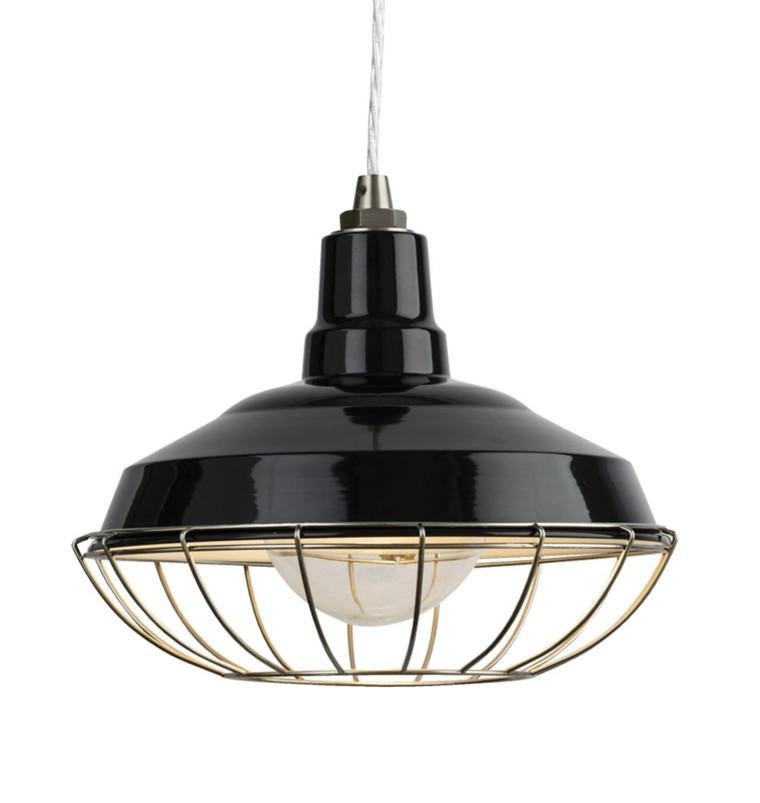lámpara forma farol negro vintage