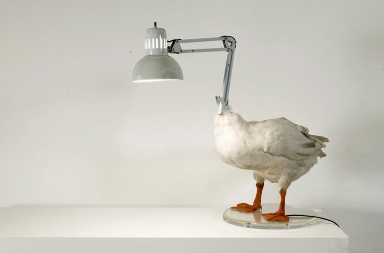 lampara pato salon blanca pequeña
